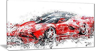 DESIGN ART Digital art PT2636-32-16 Sleek Red Sports Car Canvas Art Print, 32x16, 0