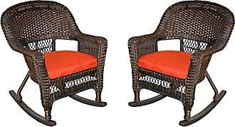 Jeco W00201R-A_2-FS018 Rocker Wicker Chair with Red Cushion, Set of 2, Espresso