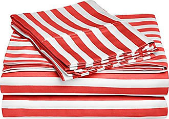 Superior Cabana Stripe Kids Wrinkle Resistant Cotton Blend 600 Thread Count Twin XL 3-Piece Sheet Set, Red