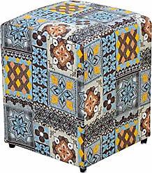 Nay Multicoisas Puff Decorativo Quadrado Suede Azulejo - Nay Estofados