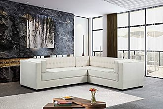 Iconic Home FSA9286-AN Lorenzo Right Facing Sectional Sofa L Shape Linen-Textured Upholstered Tufted Shelter Arm Design Espresso Finished Wood Legs Modern Transitional Ecru