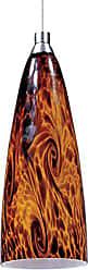 Maxim Lighting ET2 Lighting EP96036-102SN Mini Pendant with Amber Lava Glass Shade, Satin Nickel Finish