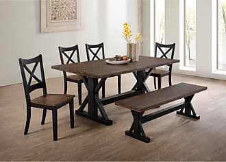 United Furniture Lexington Dining Chair - Black and Rustic Oak - Set of 2 - 5015-52