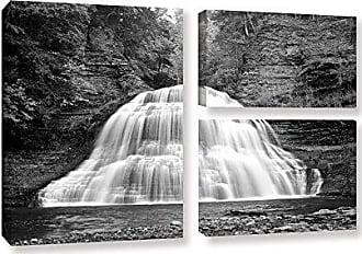 ArtWall Dan Wilsons New York-Treman Falls 3-Piece Gallery Wrapped Canvas Artwork, 24 by 36-Inch