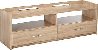 Major-Q Rectangular Modern Rustic Natural Finish 2-Drawer Wooden TV Stand with 2 Open Compartments, 9091280