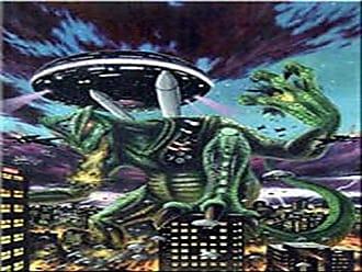 Buyartforless Millennium Rampage Poster Art Print 24x36 Rare, City Invasion, Aliens, Spaceships, Dragons Reminiscent of Godzilla