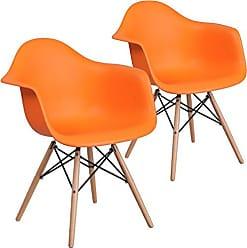 Flash Furniture 2 Pk. Alonza Series Orange Plastic Chair with Wood Base