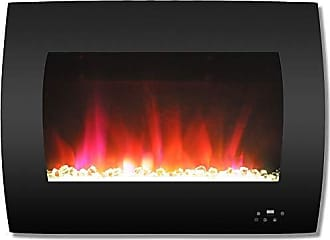 Cambridge Silversmiths CAM26WMEF-1BLK 26 In. Curved Wall-Mount Electric Fireplace in Black with Multi-Color Flames and Crystal Rock Display