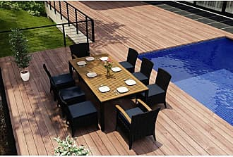 Harmonia Living Outdoor Harmonia Living Arbor Teak 9 Piece Rectangular Patio Dining Set - HL-AR-CB-9DS-IN