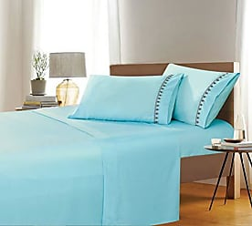 Ben&Jonah Ben & Jonah Simple Elegance Queen Size Embroidered Evil Eye 4 Piece Aqua Sheet Set