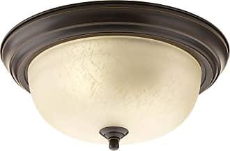 PROGRESS Antique Bronze 2-Lt. close-to-ceiling Etched Umber Linen glass bowl