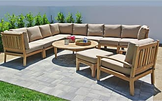 Willow Creek Designs Outdoor Willow Creek Huntington 11 Piece Teak Sectional Patio Conversation Set with Chat Table Canvas Heather Beige - WC-29-5476