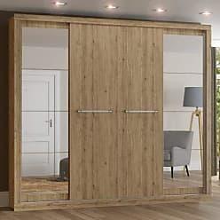 Henn Guarda Roupa Casal com Espelho 4 Portas de Correr Elegance Henn Rústico