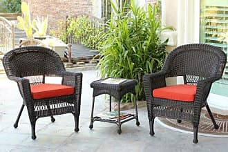 Jeco W00201_2-CES018 3 Piece Wicker End Table Set with with Red Chair Cushion, Espresso