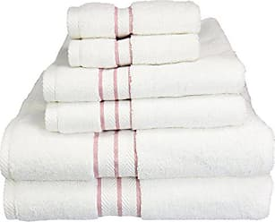 Home City Inc. Superior Hotel Collection 900 Gram, Long-Staple Combed Cotton 6 Piece Towel Set, White with Tea Rose Border