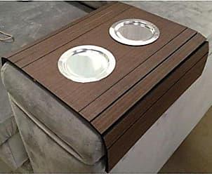 Nay Multicoisas Esteira Para Sofá Com Porta Copos Alumínio Bandeja Flexível Tabaco - Marrom