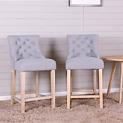 Round Hill Furniture Loksa 24 in. Counter Height Stool - Set of 2 Gray - PC513GY