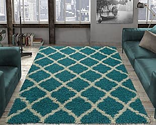 Ottomanson Collection shag Area Rug, 67X93, Turquoise Blue
