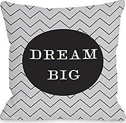 One Bella Casa Dream Big Skinny Chevron Throw Pillow Cover by OBC, 18x 18, Gray/Black/White
