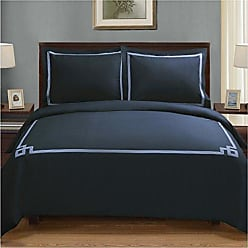Home City Inc. Superior 3 Piece Miller Cotton Duvet Cover Set, California King, Navy Blue, King/Cal King