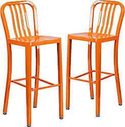 Flash Furniture 2 Pk. 30 High Orange Metal Indoor-Outdoor Barstool with Vertical Slat Back