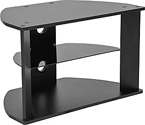 Flash Furniture Northfield Black Finish TV Stand with Glass Shelves