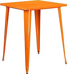Flash Furniture 31.5 Square Orange Metal Indoor-Outdoor Bar Height Table