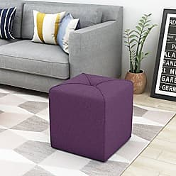 Noble House Christopher Knight Home 303840 Kenyon Purple Fabric Square Ottoman