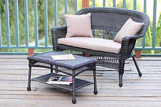 Jeco W00201-LCS007 Wicker Patio Love Seat and Coffee Table Set with Brown Cushion, Espresso