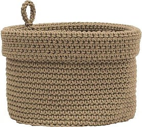 Heritage Lace Mode Crochet Round Basket with Loop, 10 by 10-Inch, Tan