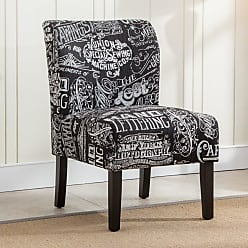 Round Hill Furniture Capa Chalkboard Print Fabric Armless Contemporary Accent Chair Off-White/Beige - AC116