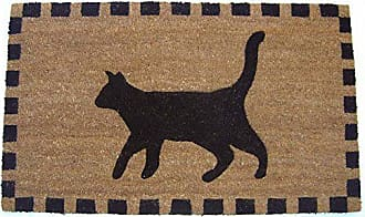 Geo Crafts Vinyl Back Cat Doormat, Black