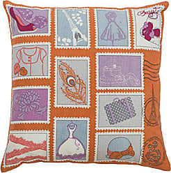 Rizzy Home Kids Pillow Girl Things Blocked Decorative Pillow, Orange
