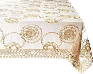 Violet Linen Marvelous Lace Tablecloth With Embroidered Round Scroll Design, 70 x 120, Gold