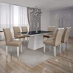 Leifer Conjunto Sala de Jantar Mesa Tampo MDF/Vidro Preto 6 Cadeiras Pampulha Leifer Branco/Linho Bege