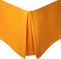 Home City Inc. Superior 1500 Series 100% Microfiber Pleated Bed Skirt Stripe, Queen, Orange