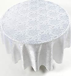 Ben&Jonah Ben & Jonah White Color 70 Round Polyester Fabric Tablecloth in A Floral Rose Damask Pattern Splash Collection by Ben&Jonah
