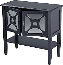 Heather Ann Creations Modern 2 Door Accent Console Cabinet with Half Circle Pane Mirror Insert and Bottom Shelf Black