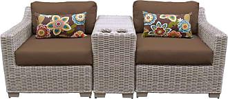 TK Classics Outdoor TK Classics Coast 7 Piece Wicker Patio Furniture Set with End Table Terracotta - COAST-07C-TERRACOTTA