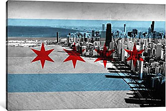 iCanvas ART 1-Piece Chicago Flag Chicago Skyline Canvas Print by Kane, 0.75 by 26 by 18-Inch