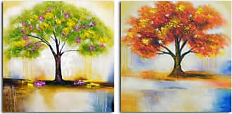 Omax Decor OMAX Spring Tree and Autumn Leaves Painting on Canvas - 64W x 32H in