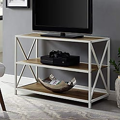 Walker Edison WE Furniture AZS40XMWROW Bookcase, 40, Rustic Oak/White Metal