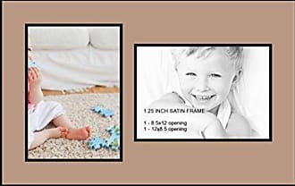 Art to Frames Collage Photo Frame Double Mat with 2 - 8.5x12 Openings and Satin Black Frame