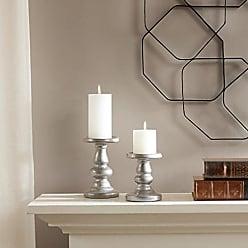 Madison Park Leighton Ceramic Candleholders Set of 2 Silver See Below