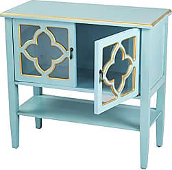 Heather Ann Creations Modern 2 Door Accent Console Cabinet with 4 Pane Clover Glass Insert and Bottom Shelf Blue/Gold Trim
