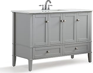 Simpli Home Chelsea 48 inch Bath Vanity in Warm Grey with White Engineered Quartz Marble Top