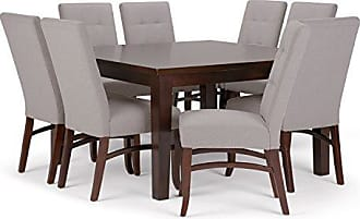 Simpli Home Simpli Home AXCDS9EZ-CLG Ezra Contemporary 9 Pc Dining Set with 8 Upholstered Dining Chairs and 54 inch Wide Table