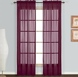 United Curtain Monte Carlo Sheer Window Curtain Panel, 59 by 84-Inch, Burgundy, Set of 2