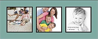 Art to Frames Collage Photo Frame Double Mat with 3 - 8x8 Openings and Satin Black Frame