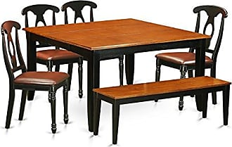 East West Furniture PFKE6-BCH-LC 6 PC Room Set Table and 4 Wood Dining Chairs Plus a Bench, Black/Cherry